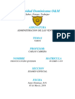 Ensayo de La Evolución de Las Ventas en República Dominicana Desde 1900 Hasta 2016