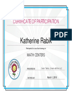 certificate of completion math centers