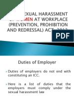 Sexual Harassment Act - Duties
