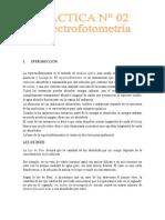 informe de espectrofotometria