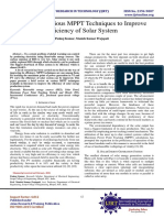 Survey on various MPPT Techniques to Improve Efficiency of Solar System