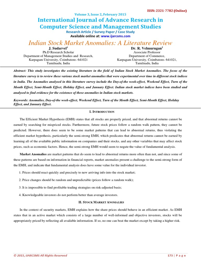 Literature review of indian stock market critical analysis writers websites online