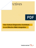 How Cultural Diagnostics Contribute to an Effective M&a Integration