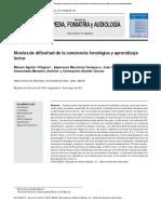 Niveles de DiÞ Cultad de La Conciencia Fonológica y Aprendizaje Lector