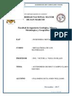 Informe 2 Materiales Conocimiento de Los Accesorios Del Mm y Campo Calro y Oscuro