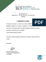 Carta Certificacion Comercial