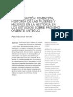 Investigacion feminista, historia de las mujeres y mujeres en la historia, en los estudios sobre Próximo Oriente Antiguo