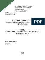 Simularea Stochastica Cu Tehnica Monte Carlo