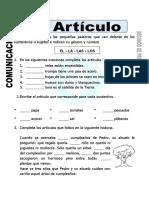 Ficha de El Articulo Para Segundo de Primaria