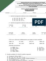 Guia Ocacional Segundo Periodo #1 Matematicas Tercero