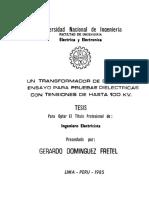 Dimensionamiento de Transformador
