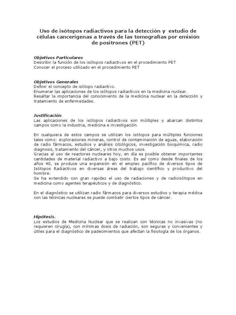 importancia y aplicacion de los isotopos radiactivos en la medicina