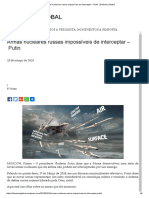 Armas Nucleares Russas Impossíveis de Interceptar – Putin. _ Dinâmica Global