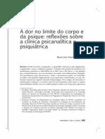 Artigo. Catani, j.; Moretto, m.t. a Dor No Limite Do Corpo e Da Psique - Refleões Sobre a Clínica