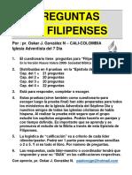 FILIPENSES EXAMEN. Cuestionario de preguntas. Respuestas al final. Por pr. Oskar J González N.