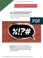 ¿Qué Dice La Jurisprudencia Internacional Sobre Crímenes de Odio en Internet