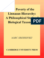 Ereshefsky, 2003. The Poverty of the Linnaean Hierarchy a Philosophical Study of Biological Taxonomy Cambridge Studies in Philosophy and Biology