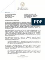 TX Senator Don Huffines Letter on Non Citizen Voter Registration