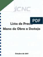 Convenio colectivo 2017 lista de precios de mano de obra al destajo