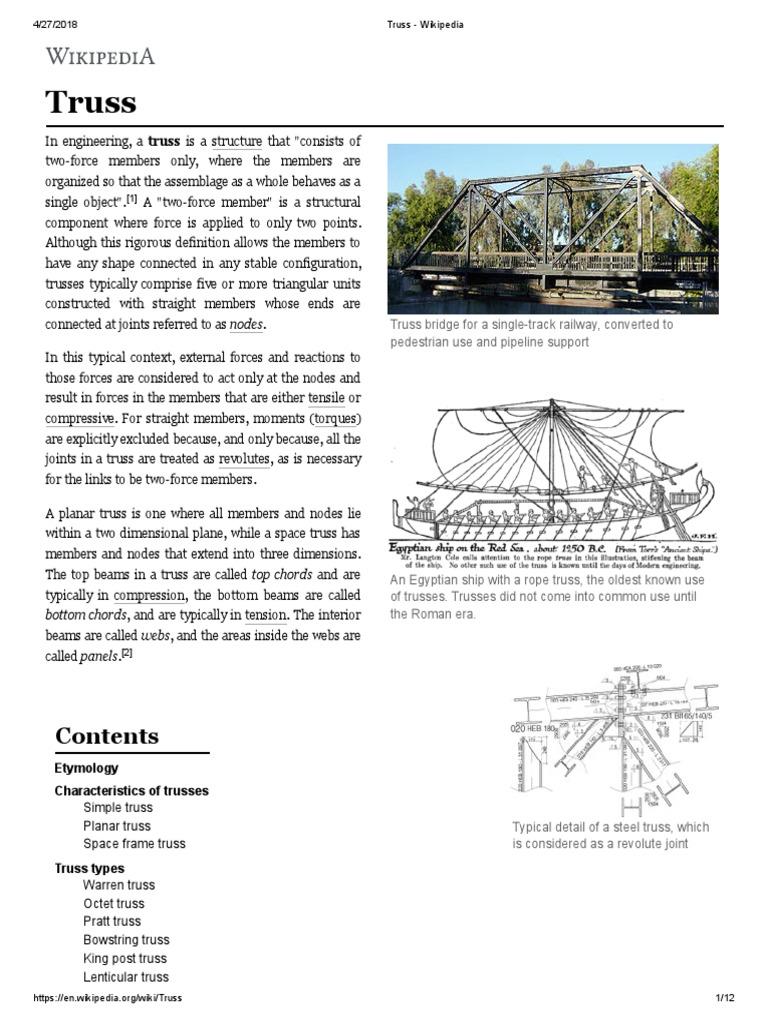 Truss Wikipedia Structural Engineering Warren Bridge Diagram Component Inside