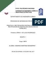 Columna de Rectificacion de Platos Con Cachucas de Burbujeo