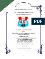 Proyecto Sobre Contaminacion Ambiental en La Ciudad de Puno