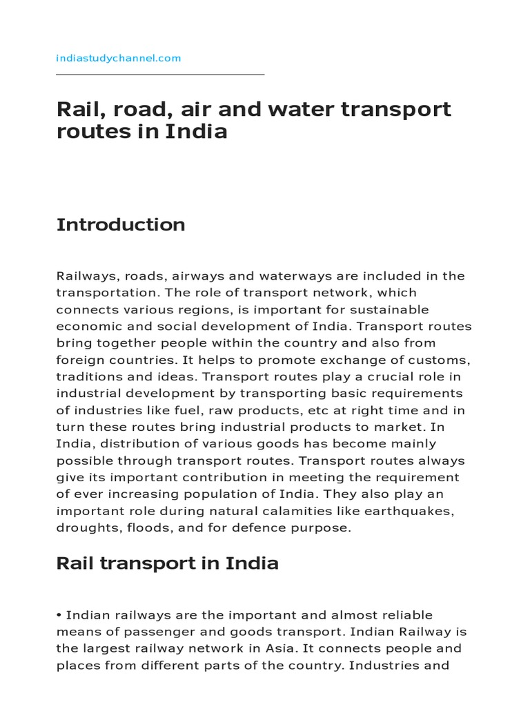 Rail_ Road_ Air and Water Transport Routes in India | Rail