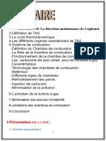 Rapport de Stage Du Urbine a Gaz
