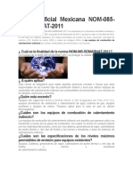 Norma Oficial Mexicana NOM-085-SEMARNAT-2011