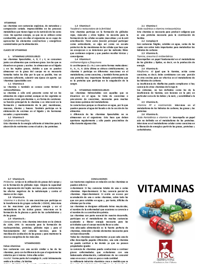 Falsas vitaminas o vitaminoides