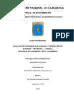 Evaluación Geodinámica de Laderas y Taludes Entre Sunudén-San Miguel-Jangalá, Provincia de San Miguel, Dpto. Cajamarca