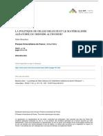 La Politique de Gilles Deleuze Et Le Matérialisme Aléatoire Du Dernier Althusser - Alain Beaulieu