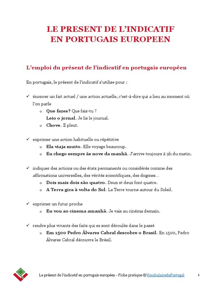 Vocabulaireduportugal Fiche Pratique Present Indicatif Portugais Europeen Verbe Morphologie