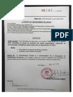 Arrêté préfectoral (Dakar) du 25 avril 2018