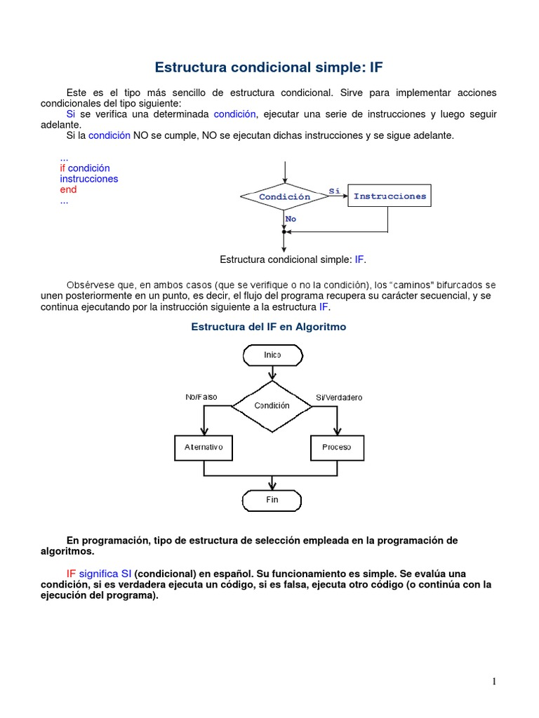 Estructura Condicional If Pdf