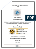 Working Capital Management of a Manufacturing Company(Project Report,M.B.A)