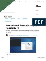 Howto Install Fedora Raspberry Pi