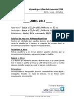 Mesas Especiales - Abril 2018