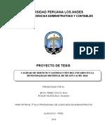Calidad de Servicio y Satisfaccion Del Usuarion en La Municipalidad Distrital de Huayucachi