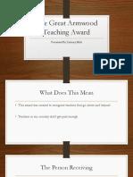 the great armwood teaching award
