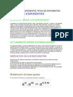 Definición y Diferentes Tipos de Exponentes