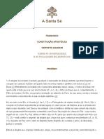 1341631_Papa Francisco. Constituição Apostólica Veritatis Gaudium.janeiro.2018