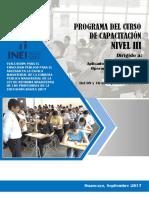 Programa Del Curso de Capacitación - Nivel III