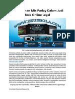 Trik Taruhan Mix Parlay Dalam Judi Bola Online Legal