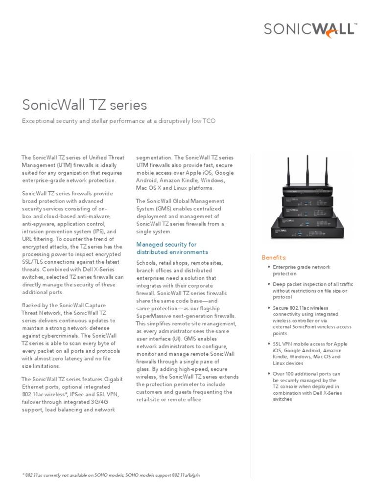 SonicWall TZ Series | Firewall (Computing) | Virtual Private