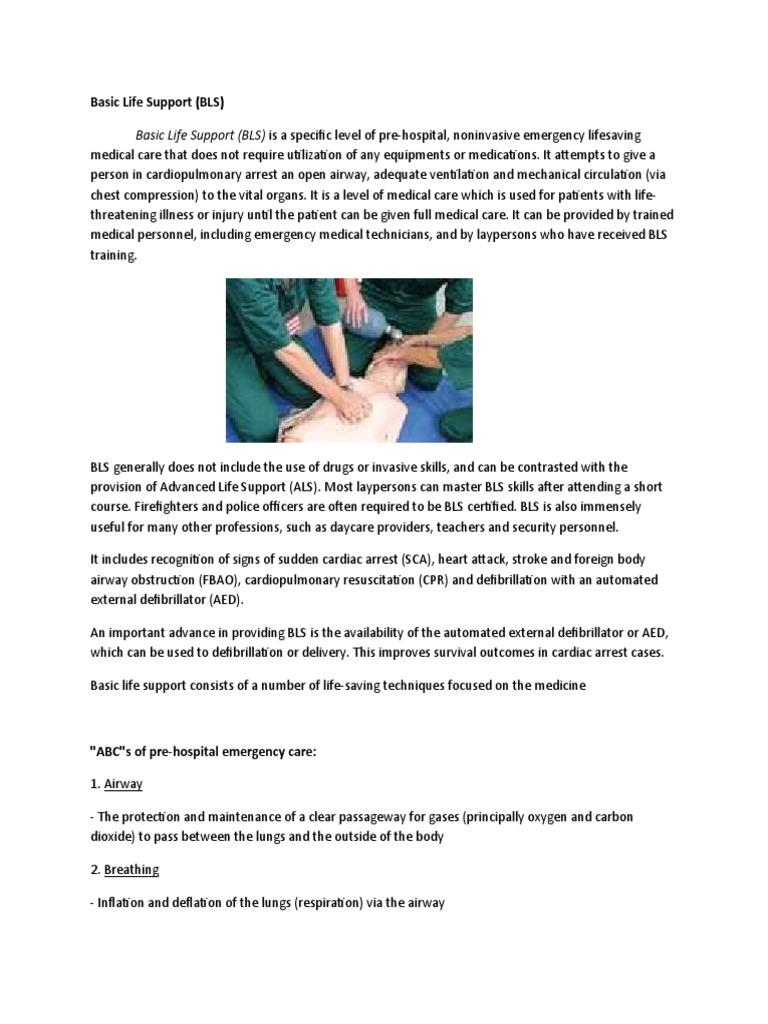 Basic Life Support Written Report Cardiopulmonary Resuscitation