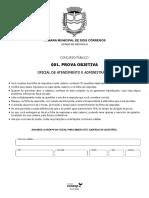 Vunesp 2018 Camara de Dois Corregos Sp Oficial de Atendimento e Administracao Prova