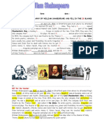 A Short Biography of William Shakespeare Key Information Gap Activities Reading Comprehension e 96316