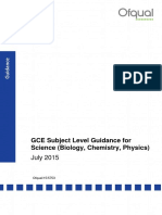 2015 07 20 Gce Subject Level Guidance for Science