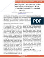 Knowledge and Perceptions of Adolescent Sexual and Reproductive Health Issues Among Rural Adolescence in Gutu Rural District of Zimbabwe